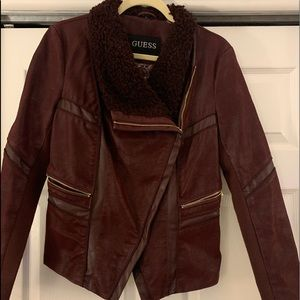 Maroon suede jacket with gold details